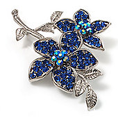 Navy Blue Swarovski Crystal Flower Brooch (Silver Tone)