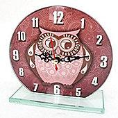 Owl Glass Clock