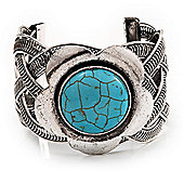 Vintage Turquoise Style Flower Cuff Bracelet In Antique Silver Metal - Adjustable