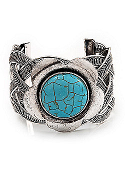 Vintage Turquoise Stone Flower Cuff Bracelet In Antique Silver Metal - Adjustable