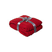 Linea Red Paw Stitch Chenille Throw