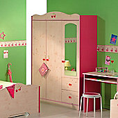 Parisot Miss Griotte Three Door Wardrobe in White Stained Pine / Raspberry