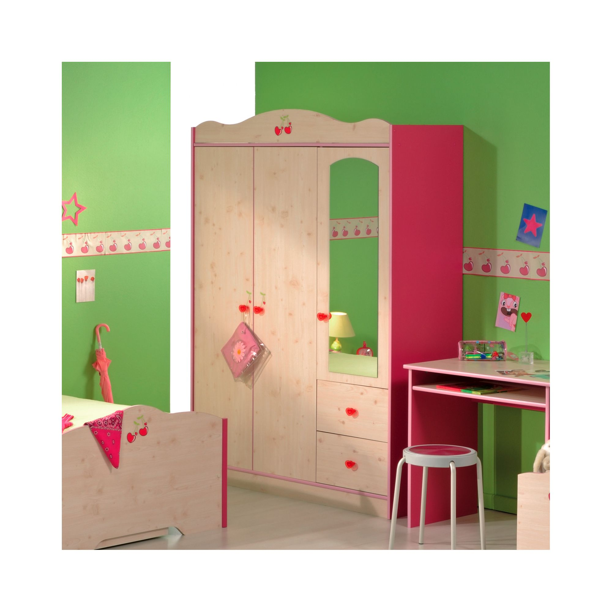 Parisot Miss Griotte Three Door Wardrobe in White Stained Pine / Raspberry at Tescos Direct