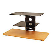 Alphason Black Glass TV Stand With Beech Effect Base