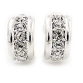 C-Shape Diamante Clip On Earrings In Silver Plated Metal - 17mm Length