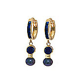 QP Jewellers Black Pearl & Sapphire Drop Huggie Earrings in 14K Gold