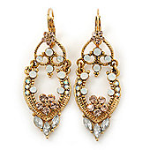 Vintage Inspired Milky White/ Champagne Austrian Crystal Drop Earrings With Leverback Closure In Gold Plating - 55mm Length