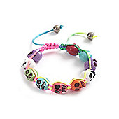 Neon Resin Skull Bracelet - Adjustable Length