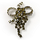 Olive Crystal Grapes Brooch