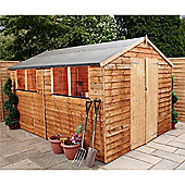 10ft x 6ft Wooden Overlap Apex Shed With Double Doors 10 x 6 Garden Wooden Shed