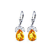 QP Jewellers White Topaz & Citrine Pear Drop Earrings in 14K White Gold