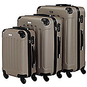 VonHaus 3pc Hard Shell ABS Trolley Suitcase Luggage Set with 4 Rotating Wheels & Combination Lock - Champagne