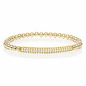 Gold filled beaded bracelet with gold plated pave bar