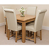 Oslo Solid Oak 90 cm Dining Table with 4 Ivory Washington Leather Chairs