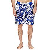 F&F Floral Print Board Shorts - Blue & White