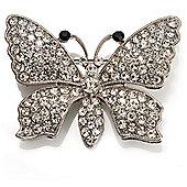 Swarovski Crystal Butterfly Brooch (Silver&Clear)
