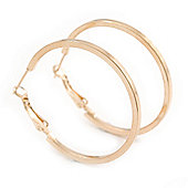 Medium, Thin Polished Gold Plated Square Tube Round Hoop Earrings - 40mm Diameter