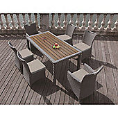 BrackenStyle Luxury Rattan 6 Seat Dining Set & Cushions - Light Grey