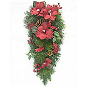 76cm Red Amaryllis Teardrop with Berries and Cones