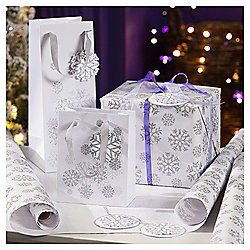 Silver Snowflake Luxury Christmas Wrapping Paper, 3m