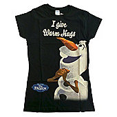 "Official Disney Frozen Olaf ""I Give Warm Hugs"" Ladies Black T-Shirt - Black"