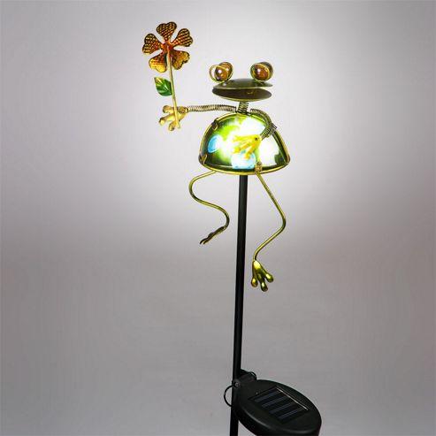 buy garden glows solar powered frog flower garden stake. Black Bedroom Furniture Sets. Home Design Ideas