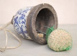 Aged ceramic suet ball feeder - includes a FREE suet ball