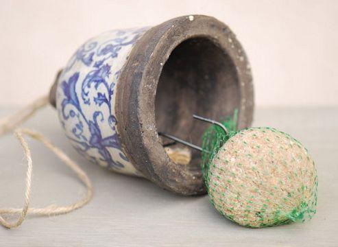 Aged ceramic suet ball feeder - includes a FREE suet ball