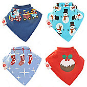 Zippy Boxed Gift Set of 4 Fun Bandana Dribble Bibs - Christmas Blue & Red
