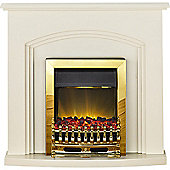 Adam Truro Electric Fireplace in Cream with Brass Fire
