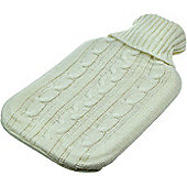 Full Size Hot Water Bottle with Arran Knitted Removable Washable Cover - Cream