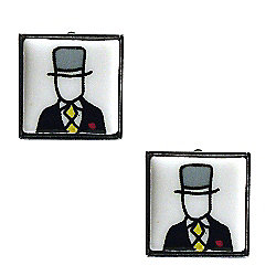 Top Hat - Yellow Tie Bone China Wedding Cufflinks