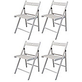 Harbour Housewares Wooden Folding Chairs - White Wood Colour - Pack of 4