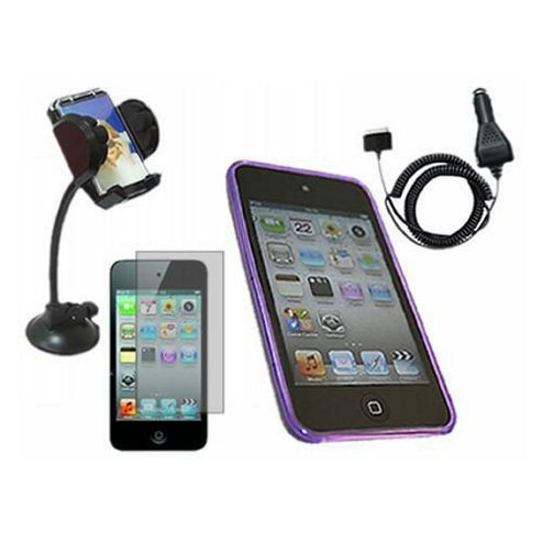 Purple ProGel Case, LCD Protector, Car Charger, In Car Holder - iPod Touch 4G