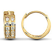 Jewelco London 9ct Yellow Gold huggie hoop Earrings channel set with 2 rows of brilliant cut CZ stones