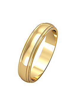 18ct Yellow Gold - 4mm Essential D-Shaped Track Edge Band Commitment / Wedding Ring -