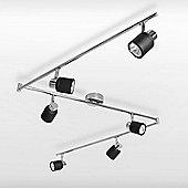 Benton Six Way Adjustable Ceiling Spotlight in Black & Chrome