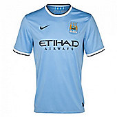 2013-14 Man City Home Nike Football Shirt - Blue