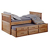 Amani Single Captain Bed Frame with Guest Bed Frame and Drawers - Waxed Pine