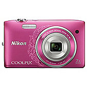 Nikon Coolpix S3500 Digital Camera, Pink, 16.2MP, 7x Optical Zoom, 2.7 inch LCD Screen