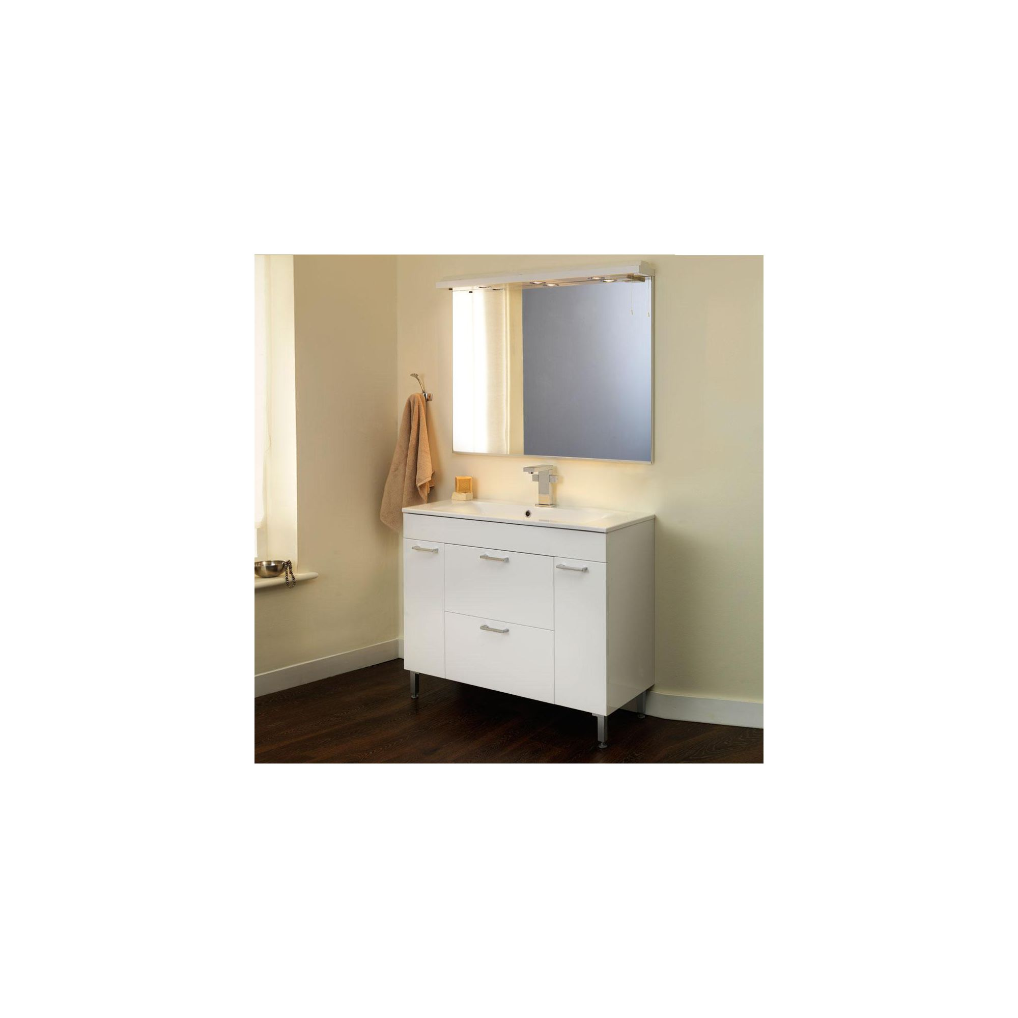 Duchy Trerise White Floor Standing 2 Door 2 Drawer Vanity Unit and Double Bowl Basin - 1000mm Wide x 445mm Deep including Mirror and Cornice