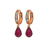 QP Jewellers Ruby & SI-2 Diamond Wreathed Briolette Earrings in 14K Rose Gold
