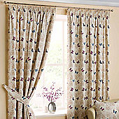 Homescapes Cotton Mauve Ready Made Curtain Pair Butterfly Design 90x72""