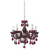 Antoinette 5 Arm Chandelier, Plum