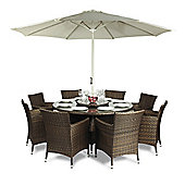 Savannah 8 Seat Round Dining Table and Chairs Rattan Garden Furniture Set
