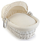 Clair de Lune White Wicker Moses Basket (Soft Cotton Waffle Cream)