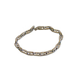Mens JW Man Stainless Steel Double Hole Link Bracelet