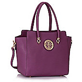 KCMODE Womens Purple Polished Metal Shoulder Handbag