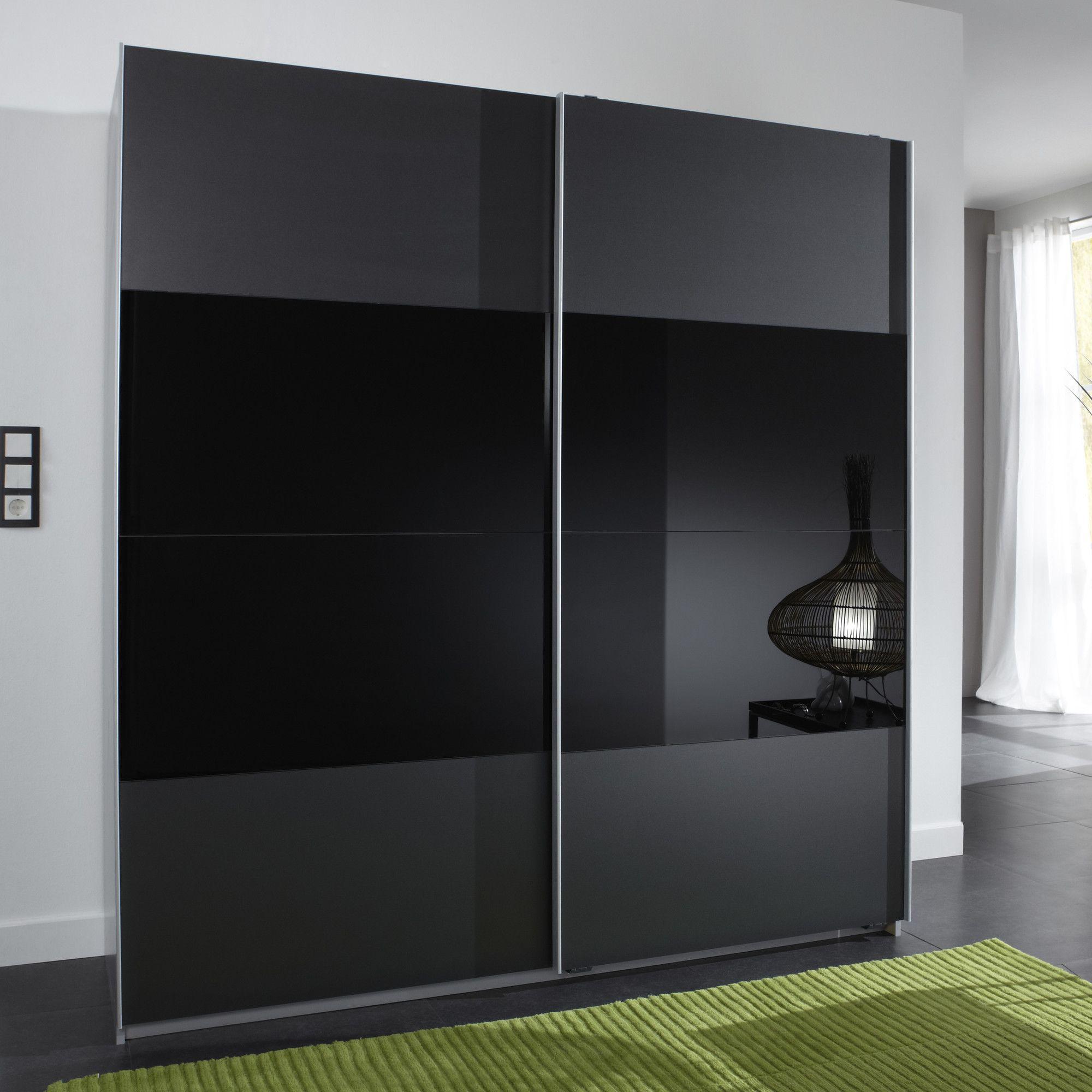 Amos Mann furniture Munich 2 Door Sliding German Wardrobe - Black at Tesco Direct