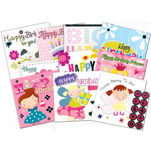 The Entertainer 10 Birthday Cards Pink Set with Envelopes